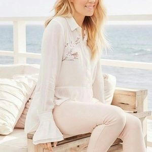 Lauren Conrad high low buttoned shirt